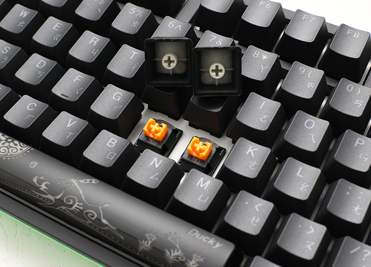 Ducky PBT Double-shot keycaps<br /> Enjoy the same optimized performance with less actuation force as a Razer™ Green Mechanical Switch, while maintaining a quiet gaming experience.